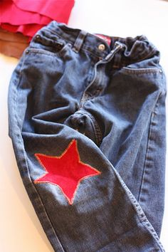How to patch my boys jeans...  I've got at least 4 pair in need of patches right now.  How cute is this!