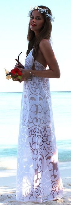 #summer #sheer #trend #outfits | White Patterned and Semi Sheer Maxi Beach Dress