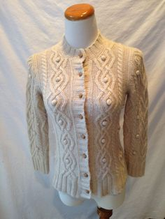 J. CREW beige CASHMERE blend Fisherman Cardigan Sweater Small S #JCrew #Cardigan