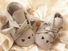 Newborn 3 Hearts Silver Suede Baby Shoes / Baby Booties -  Genuine Leather Baby Moccasins /  Suede Baby  Shoes / Baby Shower Gift by BittyToes on Etsy