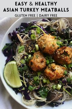 Asian Turkey Meatballs, Cabbage Stir Fry, Rice Noodles, Easy Weeknight Meals, Brown Rice, Tandoori Chicken, Easy Dinner Recipes, Glutenfree, Spices