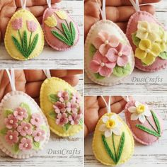 felted wool crafts Pastel Felt Easter decoration - felt eggs with flowers in pink and yellow / set of 8 Listing is for 8 felt eggs Set of 8 includes - 3 eggs in baby yellow (butterc Crafts To Sell, Crafts For Kids, Diy Crafts, Spring Decoration, Fox Ornaments, Heart Ornament, Felted Wool Crafts, Felt Decorations, Felt Diy