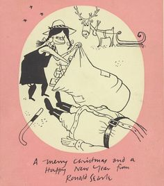Christmas card by the great Ronald Searle.
