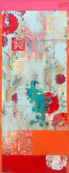 """Love Poems Series: #2 - """"Sweet Mystery"""" 40x16, frescoed canvas by Kathe Fraga www.kathefraga.com Inspired by vintage Paris and chinoiserie ancienne."""