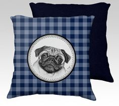 Pug cushion pug pillow pug with glasses cushion pug by MimoCadeaux  on ETSY