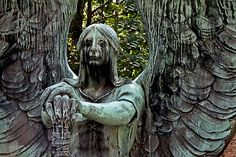 Sculpted in 1923 by Herman Matzen, the Angel of Death Victorious is the most famous marker in the Lake View Cemetery. Some say the angel is crying for those whose lives he's extinguished.
