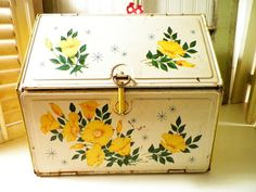 Tin Bread Box Yellow Flowers Vintage 1950s