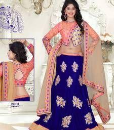 Buy Blue & chiku color velvet net fabric lehenga  with Blouse lehenga-choli online