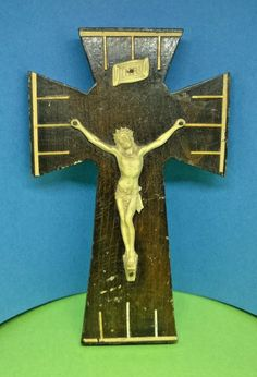 Vintage French Wooden wall hanging Crucifix