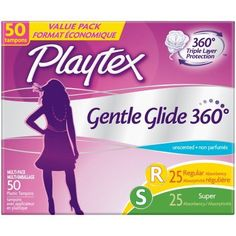 Playtex Gentle Glide Tampons Unscented Multi-Pack 25 Regular Absorbency And 25 Super Absorbency - 50 Count