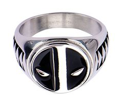Deadpool Logo Stainless Steel Ring  11 * Read more reviews of the product by visiting the link on the image.