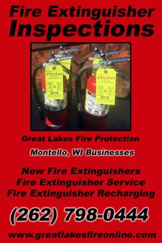 Fire Extinguisher Inspections Montello, WI (262) 798-0444 Check out Great Lakes Fire Protection.. The Complete Source for Fire Protection in Wisconsin. Call us Today!