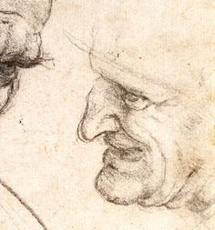 69. Studies for the Heads of Two Soldiers in 'The Battle of Anghiari', c.1505, chalk