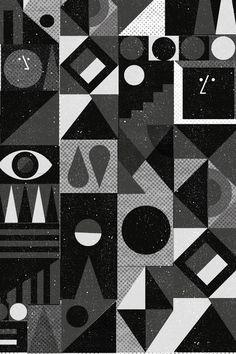 Jonathan calugi black and white retro shape pattern вуду вуд Shape Patterns, Cool Patterns, Textures Patterns, Print Patterns, Surface Pattern, Surface Design, Memphis Design, 3d Max, Art Graphique