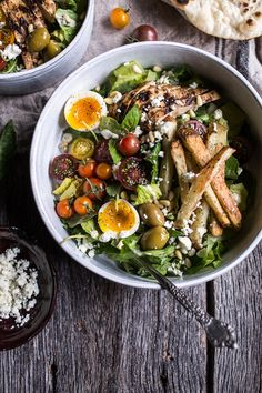 Greek Chicken Gyro Caesar Salad.