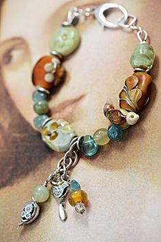 Handmade flameworked glass beads, sterling silver, Apatite | Deborah JLambson