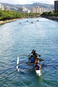 Ala Wai canal Honolulu, Hawaii comes with plenty stories. Aloha Hawaii, Hawaii Vacation, Hawaii Travel, Honolulu Hawaii, Oh The Places You'll Go, Places To Visit, All About Hawaii, Outrigger Canoe, Hawaiian Islands