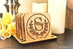 Laurel Wreath Family Name Coaster Set - Personalized Engraved Gift