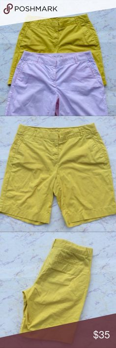 J. Crew Summer Chinos 2 Size 8 J Crew stretch summer weight chino shorts. Pastel pink and yellow. 98% cotton 2% spandex. Waist 16 Inseam 9 rise 10. J. Crew Shorts