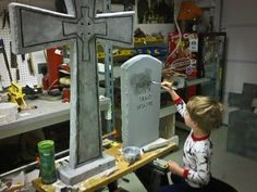 """I painted the gravestones using 3 of the """"Stone"""" spray paint colors. After I had used up the cans I was left with two gravestones that needed painting, for those I mixed black paint in… Halloween Home Decor, Halloween Crafts For Kids, Outdoor Halloween, Halloween Projects, Diy Halloween Decorations, Halloween Ideas, Hollween Decorations, Halloween Tombstones, Halloween Ghosts"""