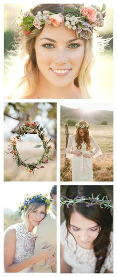 Boho Floral Crown Hippie Wedding Whimsical Floral Crowns Rustic Floral Crowns