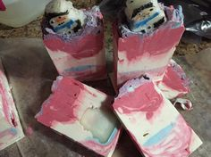 Christmas soap I made. Still curing Peppermint EO & vanilla FO