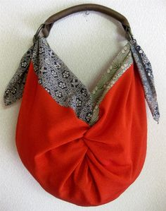 Furoshiki....could use strap from unwanted purse or rummage sale find instead of rings!!