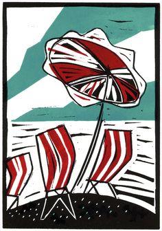 Colin Moore, Windy Day, Lino Print