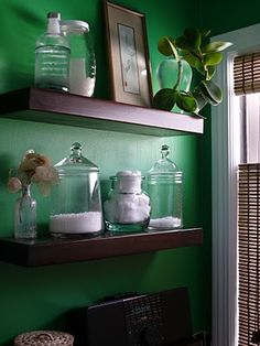 green wall + apothecary glass *Living Room Wall Inspiration...