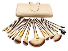 eNilecor 18Piece Makeup Brushes Set SyntheticHorse Hair Brush Set Professional Natural Cosmetic Kabuki Highlighter Fan Foundation Blush Concealer Eyeliner Face Powder Kit with Case BagGloden 18PCS ** You can find out more details at the link of the image.