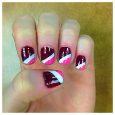 Free hand valentines day nails.  #love #nails #red #pink #valentines #nailart #holidays #easy #diy #sallyhanson #opi