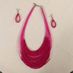 Pink Necklace & Earring Set Like New!! Never worn  Bundle with other items in my closet for a discount!!! Jewelry