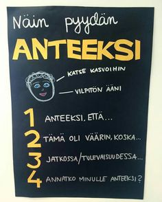 Näin pyydän anteeksi School Classroom, School Fun, Pre School, Finnish Language, Future Jobs, Think, Classroom Inspiration, Social Skills, Classroom Management