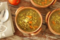 Lentil Barley Soup - This is one of the heartiest soups I've made. It has vegetables, lentils and barley, and a comforting rich thick. Soup Recipes, Cooking Recipes, Pearl Barley, Barley Soup, Green Lentils, Stuffed Peppers, Meals, Vegetables, Ethnic Recipes