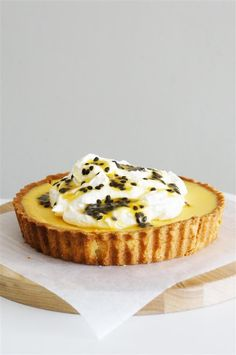 Passion fruit tart with orange mascarpone cream