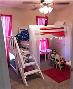 Loft Bed with staircase, platform and full hand railing. Fits a single twin sized mattress not including a box spring. Approximate dimensions are H x L x D with an area under the bed that is 4 H x L x D. Each piece is made of pine, sanded with grit sand Bed For Girls Room, Teen Girl Bedrooms, Big Girl Rooms, Loft Beds For Small Rooms, Kids Room, Bed Rooms, Teen Bedroom, Bunk Beds With Stairs, Kids Bunk Beds