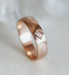Mens Curved Wedding Band wih Gemstone - Praise