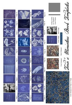 "Free Miniature Book printie of Anna Atkins' Pioneering Cyanotype book: ""British Algae"".  This makes a 1.5"" book."