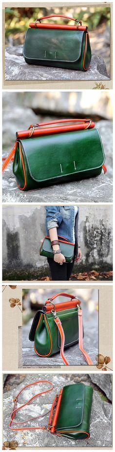 Handmade Genuine Leather Handbag Clutch Small Satchel Messenger for Women 14102