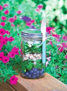 Spinach, Blueberry, and Blue Cheese Salad in a Mason Jar