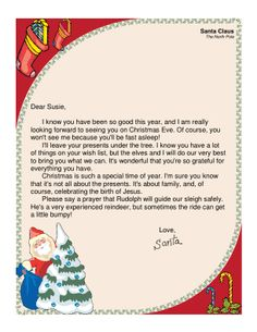Grab this free printable letter from santa santa christmas this printable letter from santa is intended for christian families and mentions the birth of jesus spiritdancerdesigns Images