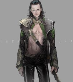 Credit to Artist written on Art, and WOW.      We need more half naked Loki O.O
