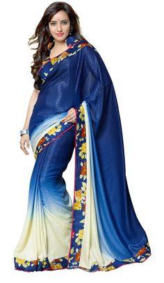 Neha sharma Blue Colour Georgette Designer Party Wear Saree Buy Apparel