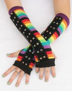 Hey, I found this really awesome Etsy listing at https://www.etsy.com/listing/170015675/rainbow-arm-warmers-corset-grommets