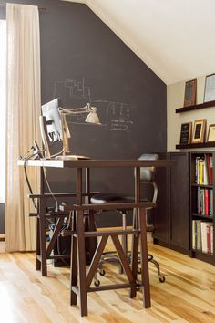 Game Room Makeover - contemporary - Home Office - Boston - Hammond Design Cool Office Desk, Cheap Office Chairs, Office Waiting Room Chairs, Office Interior Design, Office Interiors, Home Office Colors, Composite Adirondack Chairs, Accent Chairs Under 100, Wooden Dining Room Chairs