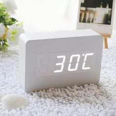 Fashion White LED Wooden Clock