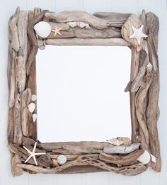 During these past few hot evenings I have been hard at work making a pair of driftwood and sea shell mirrors. The driftwood was found on a beach in West Wales -