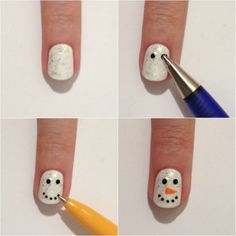DIY snowman nails