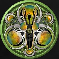 Earth Goddess of the Green Moon Square Sticker x Earth Goddess, Goddess Art, Goddess Symbols, Celtic Mythology, Sacred Feminine, Divine Feminine, Green Moon, Pagan Art, Mother Goddess