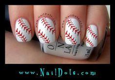 Baseball Laces Nail Decals! Baseball Nails